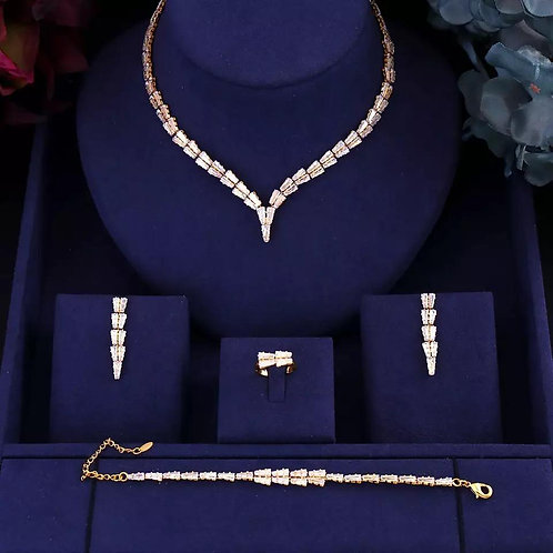 Luxury Bridal Zirconia Full Jewelry Sets For Women