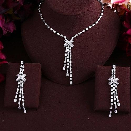 Cross Tassel Drop Full Micro Cubic Zirconia Pave Women Bridal Engagement jewelry