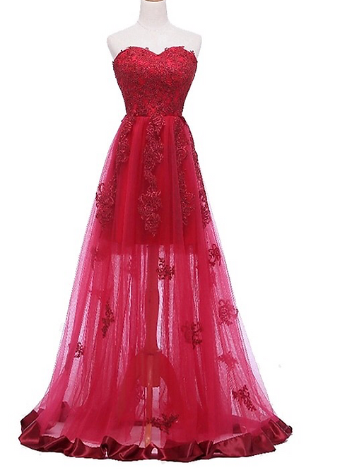 Sweetheart Sleeveless Appliqued Banquet Party Gown