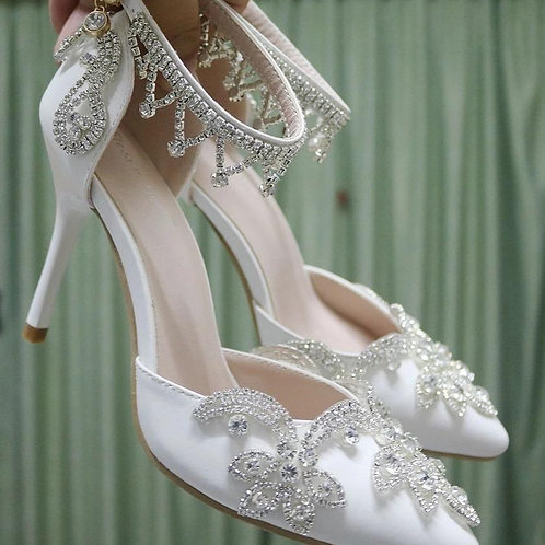 White Hgh-heeled Wedding Pumps Sweet White Flower Lace Crystal Pointed Toe