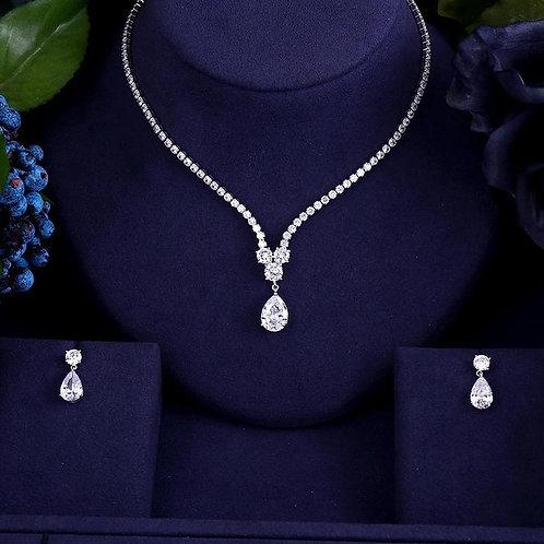 luxury AAA zircon water drop shape necklace pendant Set for women