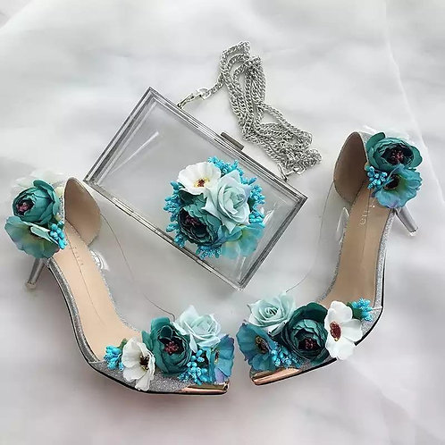 Fairy tale flowery shoes and PURSE