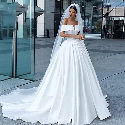 Elegant Satin A-Line Wedding Dress