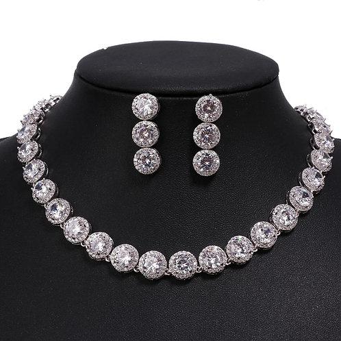 Round AAA Cubic Zirconia Wedding Jewelry Sets
