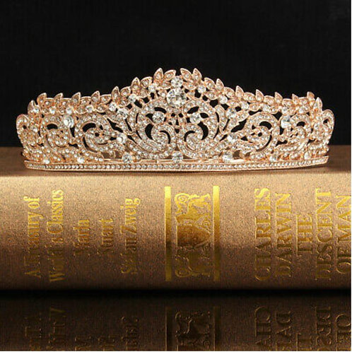 Rose gold crystal crown tiara