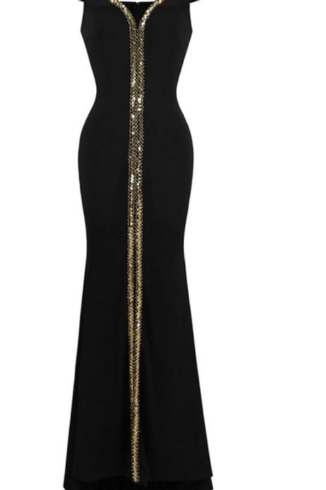 Women's Off Shoulder Evening Dresses Gold Sequin Stretchy Party Dress Black 398