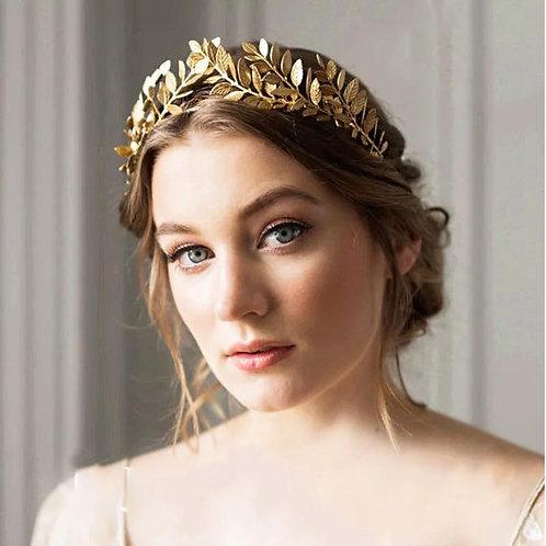 Leaf inspired gold tiara