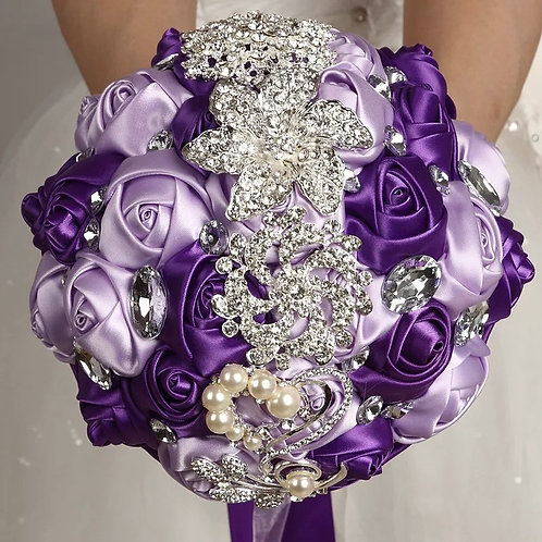 Beaded crystal purple bouquets
