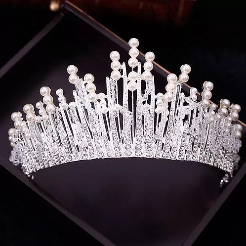 Vintage multilayer Luxury Silver and Pearl Tiara