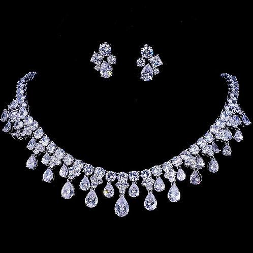 Platinum plated Cubic Zirconia Wedding Jewelry Set