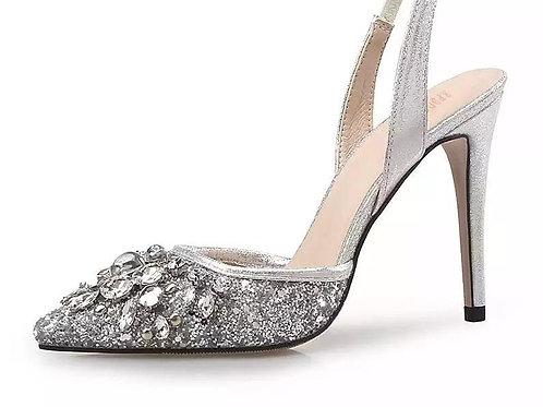 Sparkling Rhinestone Slingback Heels Shoes