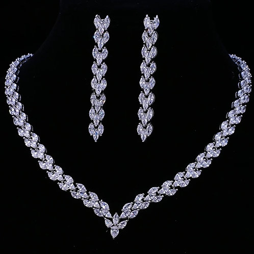 V- Shaped AAA Cubic Zirconia Wedding Jewelry Set