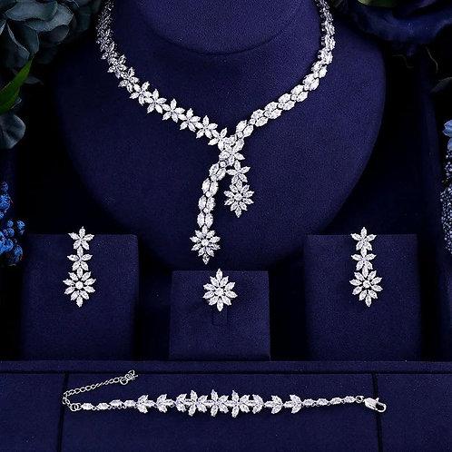 4 Pcs Luxury AAA cubic zirconia heavy necklace ,drop earrings ,bracelet and ring