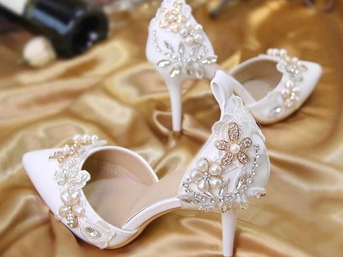 Women Crystal Pearl beaded bridal Shoes