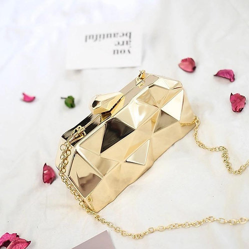 Hexagon Mini Party Gold  Evening Purse