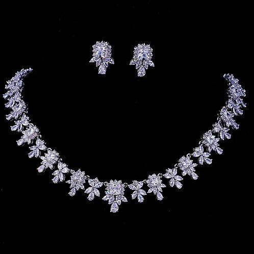 Leaf shaped Cubic Zirconia Wedding Jewelry Set
