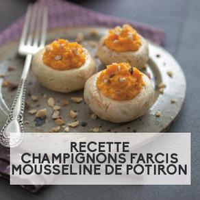 Recette : Champignons farcis, mousseline de potiron