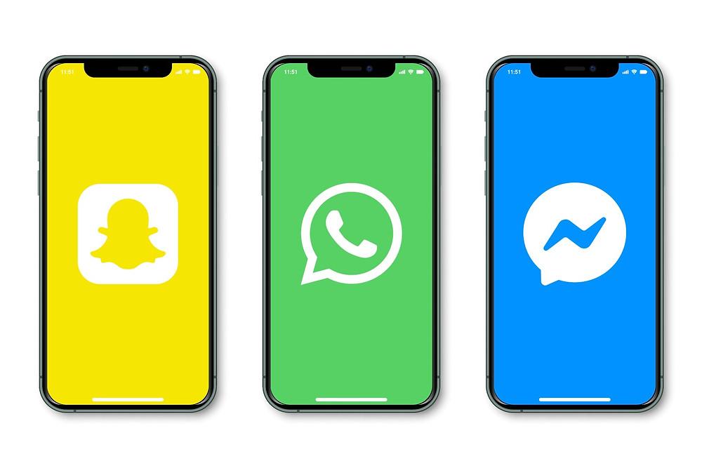 Logos Snapchat, WhatsApp et Messenger