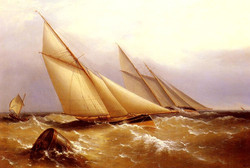 A Schooner And Cutter Yacht Rounding