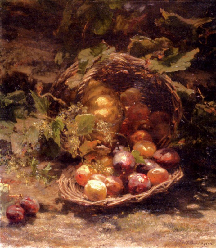 A Wicker Basket Of Plums, Apricots A