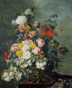 Summer Flowers in a Vase on a Ledge