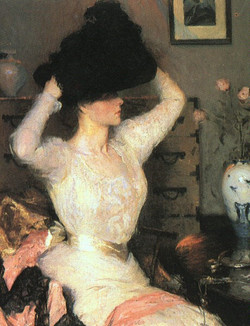 Lady Trying On a Hat