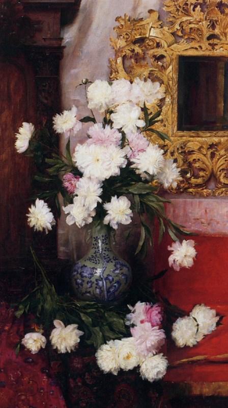 Vase de pivoines