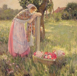 Resting by a Basket of Flowers
