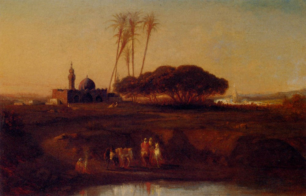Arabs At An Oasis At Dusk