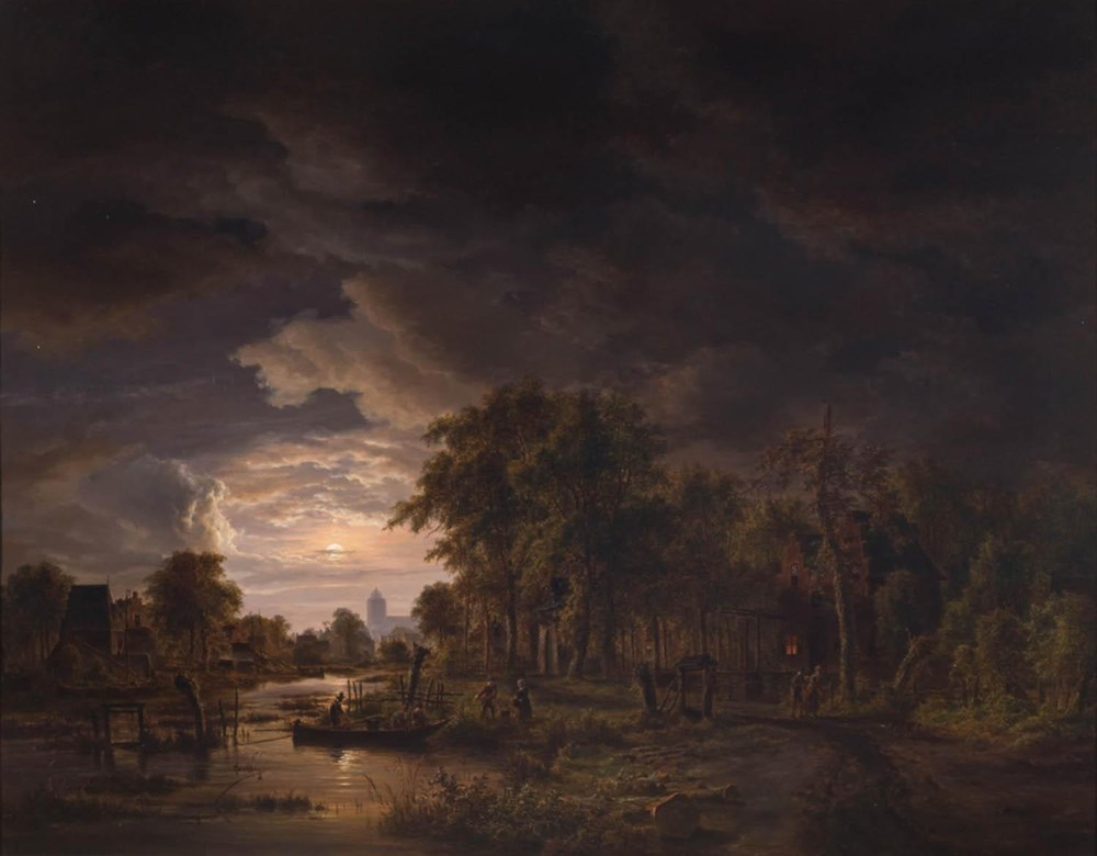 Moonlit Village by a River