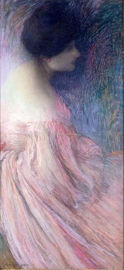 Femme en robe rose Woman in a pink d