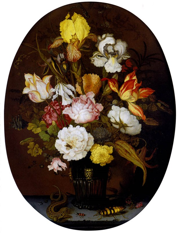 A Still life of roses, irises