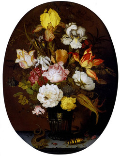A Still life of roses, irises