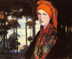 A Peasant Woman by a Wooded Forest