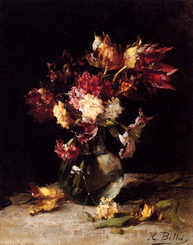 Still Life Of Tulips And Carnations