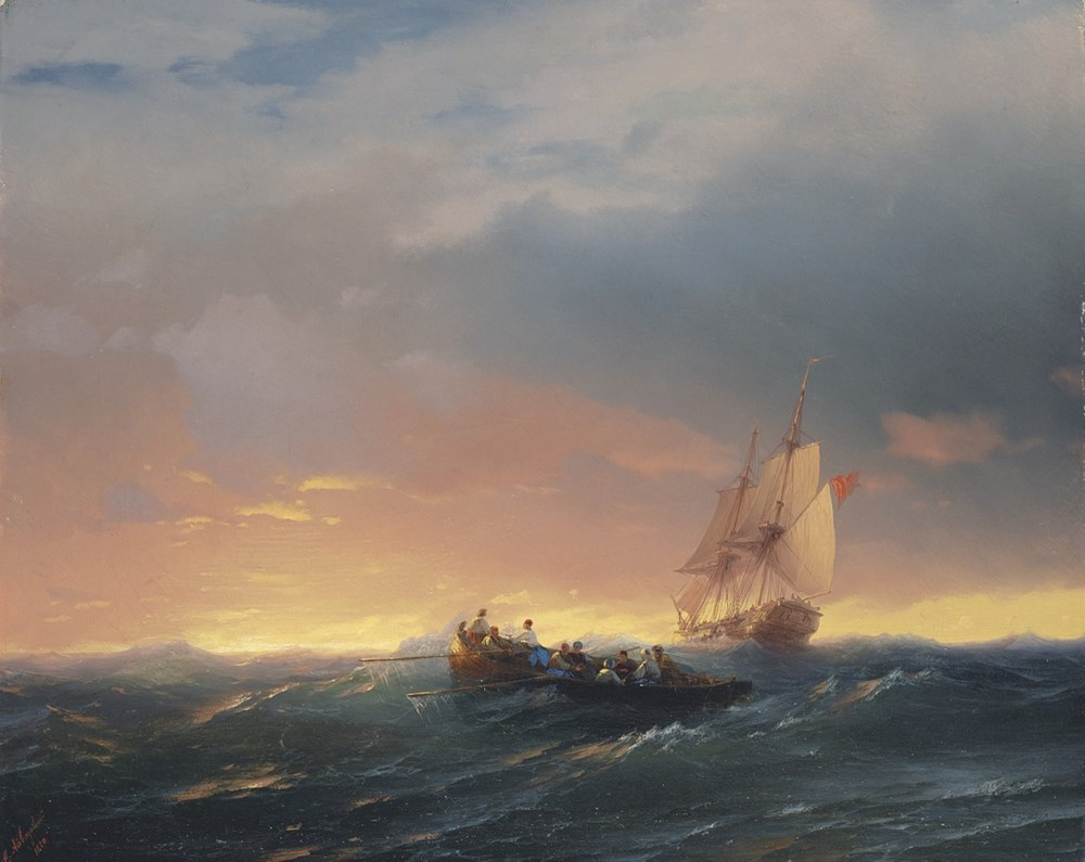 Vessels in a Swell at Sunset