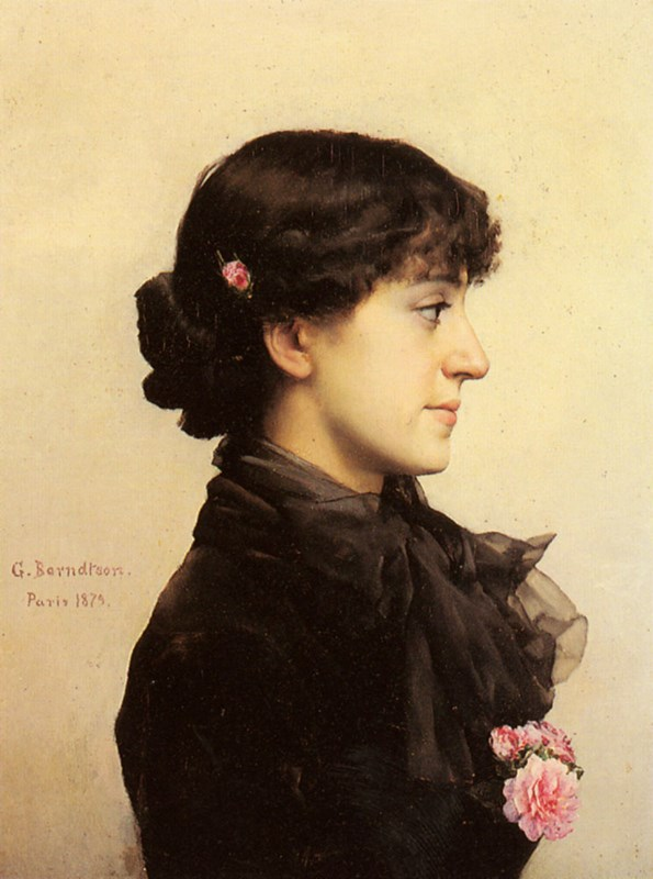 A Lady in Black with Pink Roses