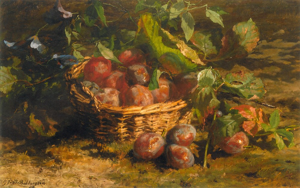 Stilllife with Plums in a Basket