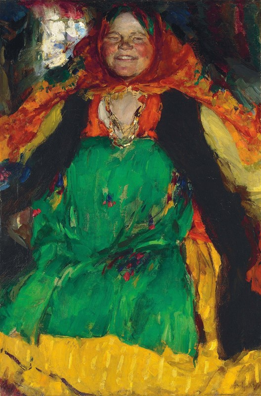 Peasant Woman in Green Dress