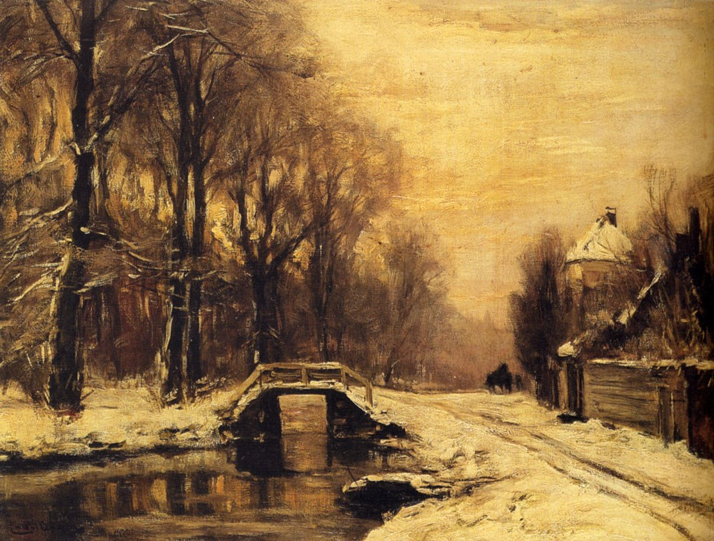 A Snowcovered Forest With A Bridge A