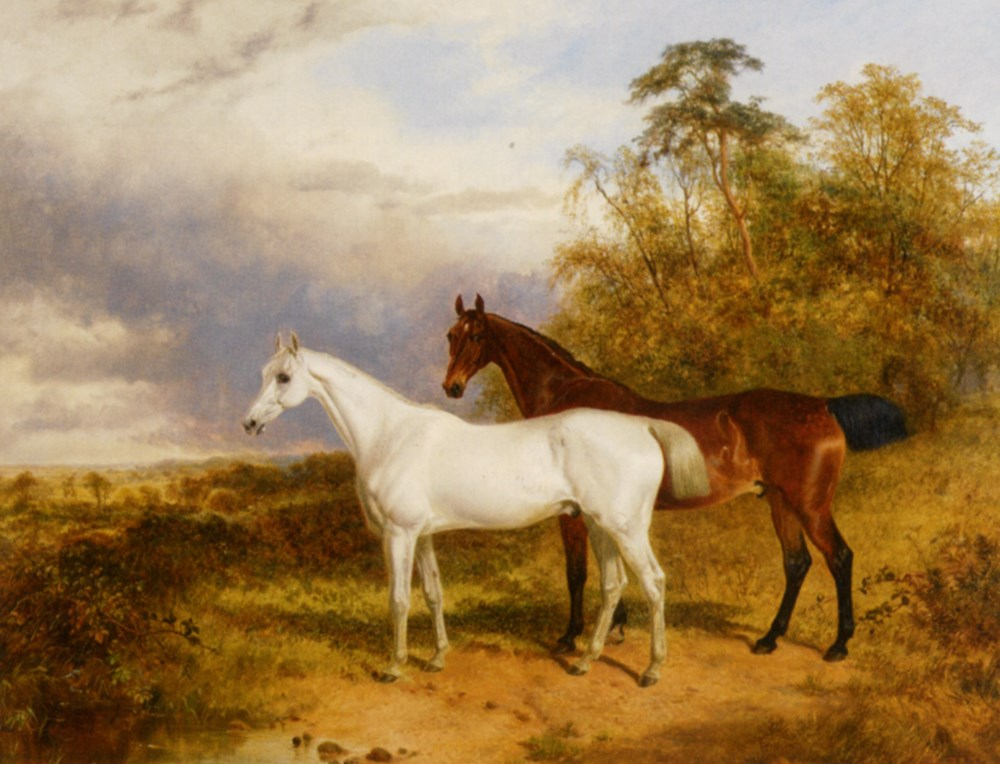 A Bay and Grey Horse in a Landscape