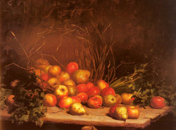 An Overturned Basket Of Fruit And Ve