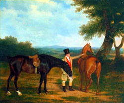 Two Hunters with a Groom circa