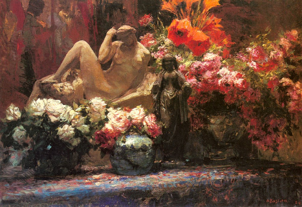 A Floral Still Life with Sculpture