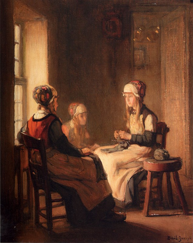 A Interior With Marken Girls Knittin