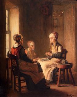 A Interior With Marken Girls Knittin