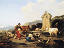 Roman Fountain with Cattle and Figur