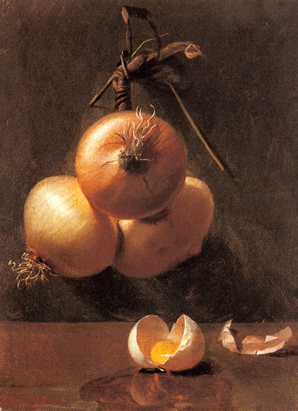 A Still Life with Onions and a Crack