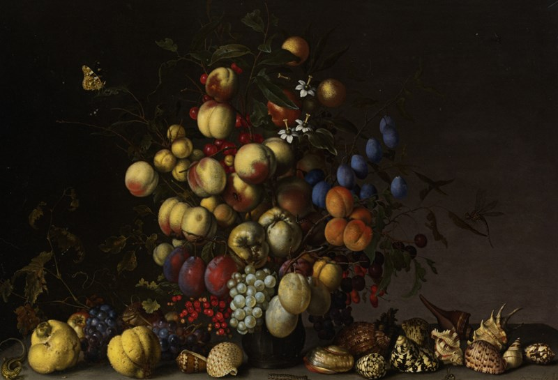 Various Fruit in a Vase with Insects