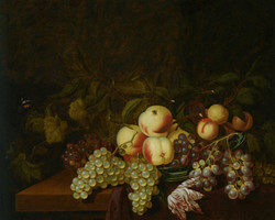 Still life of peaches and grapes in